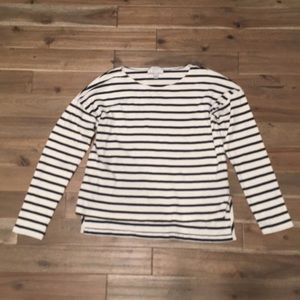 J. Crew Long Sleeve Navy & White Striped Tee